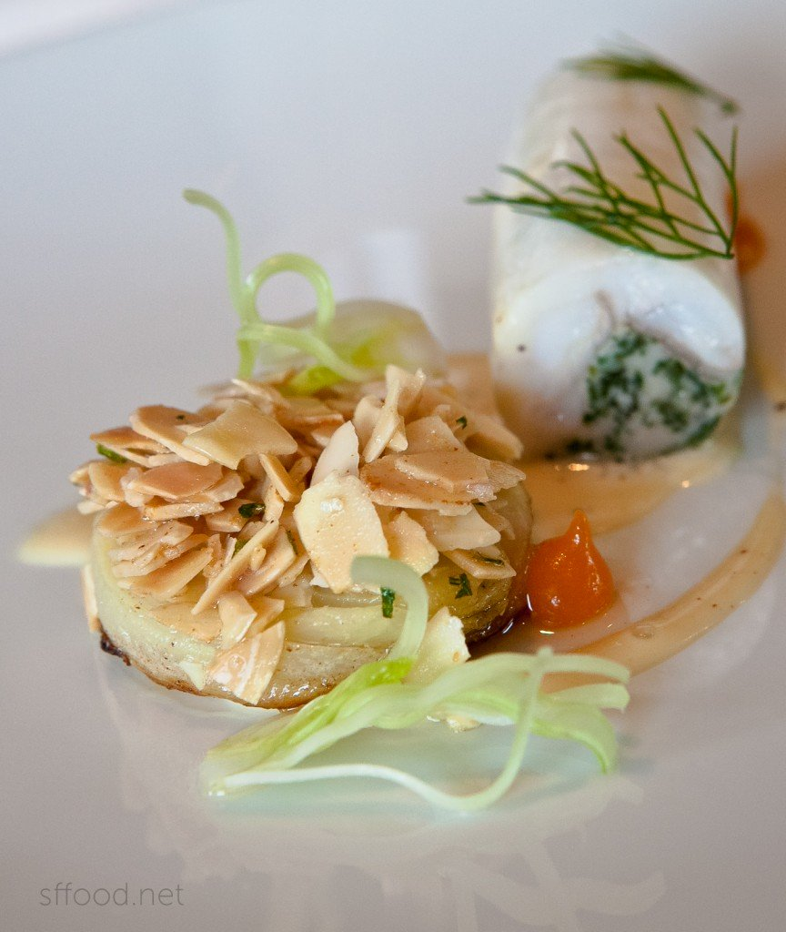 "Fennel Amandine, Royal Blenheim Apricot Puree, Brown Butter and ""Sauce Noilly Prat"""