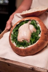 Poussin baked in a hollowed out sourdough